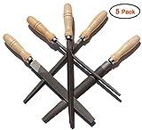 ACCOCO Feilen-Set Feilensatz mit Holzgriffen , 5-teilig