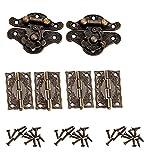 2 Stücke Antike Prägung Haspe Latch Lock Möbel Dekorative Schrank Schmuckschatulle Schloss mit 4 Stücke Mini Scharnier und 28 Stücke Schrauben