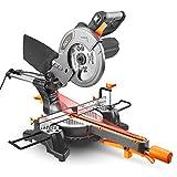 Tacklife Kappsäge, 1500W Gehrungssäge mit Laser, 4500U, 1×Sägeblatt Ø 210 mm, Einstellbarer Schnittwinkel 0-45°, Einstellbare Basis im und gegen Uhrzeigersinn 0-45°, hohe Schnittkapazität - PMS01X