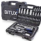 BITUXX 108 Teiliges Werkzeugkoffer Knarrenkasten Werkzeugset Werkzeugkasten Ratschenkasten Steckschlüssel Bit Imbus Werkzeug Set
