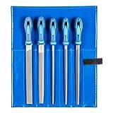 PFERD Werkstattfeilen-Set in PVC-Rolltasche, 5 Feilen, Kreuzhieb H2, 250mm, 11800542 - für universelle Schrupp- und Schlichtarbeiten geeignet