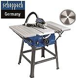 Scheppach HS 100 S Sonderedition Tischkreissäge – Kreissäge mit Feinschnitt Sägeblatt (2000 W, Sägeblatt Ø 250 x Ø 30 mm, max. Schnitthöhe 85 mm, Tischgröße 940x642 mm)