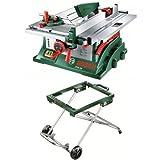 Bosch Tischkreissäge PTS 10 (Sägeblatt, Bodenplatte, Winkelanschlag, Spaltkeil, Schiebestock, 1400 Watt) + Bosch Mobiles Untergestell PTA 2000 (Höhe: 595 mm, Traglast: 125 kg)