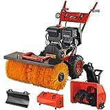 Schneefräse Kehrmaschine 13 PS mit Elektrostarter 4in1 Benzin Schneepflug Schneeschieber Motorbesen