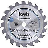 kwb 584357 Span-Platten Kreissäge-Blatt, Holz-/Hartholz, 160 x 16 mm, saubere Schnitte, mittlere Zahl, 20 Zähne Z-20, CleanCut Sägeblatt mittel, 160 x 16