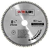 TCT-Kreissägeblatt TCT21680T von Saxton, für Bosch, Makita, Dewalt, 216 mm x 30 mm x Bohrungsdurchmesser x 80 Zähne
